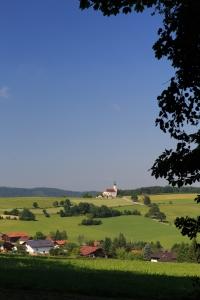Der Blick zur Wallfahrtskirche Weißenregen