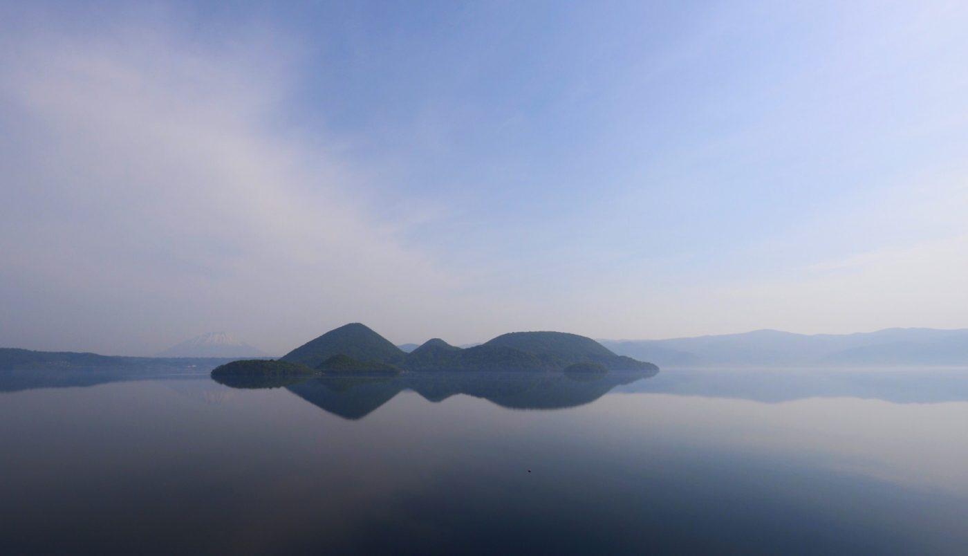 Morgenlicht am Toya-See, Hokkaido, Japan