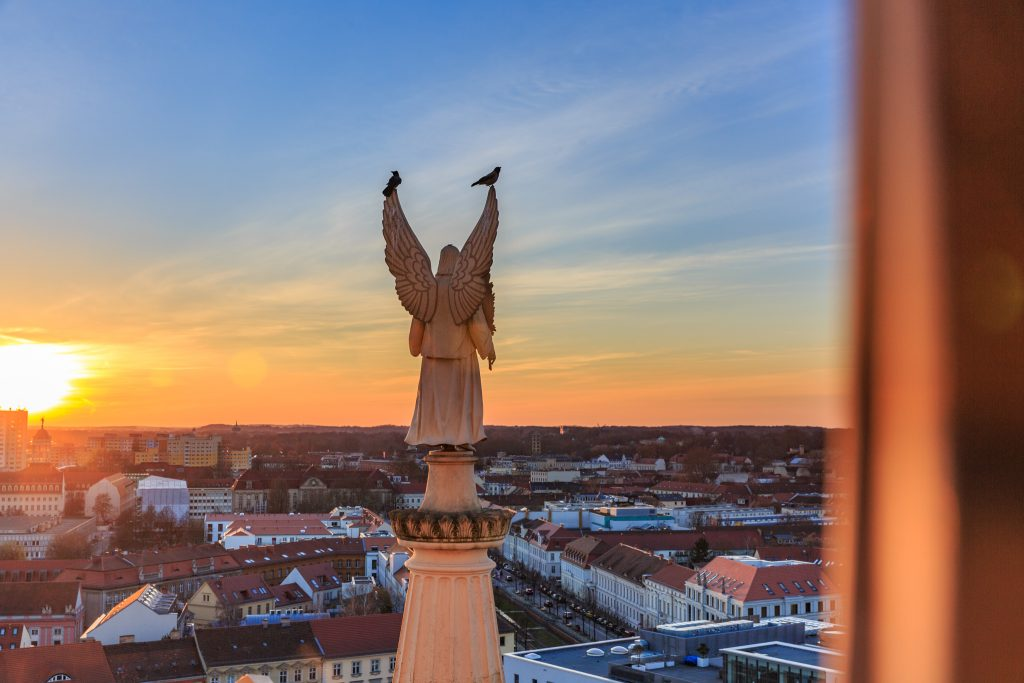 Sonnenuntergang Nikolaikirche Sylvia Knittel