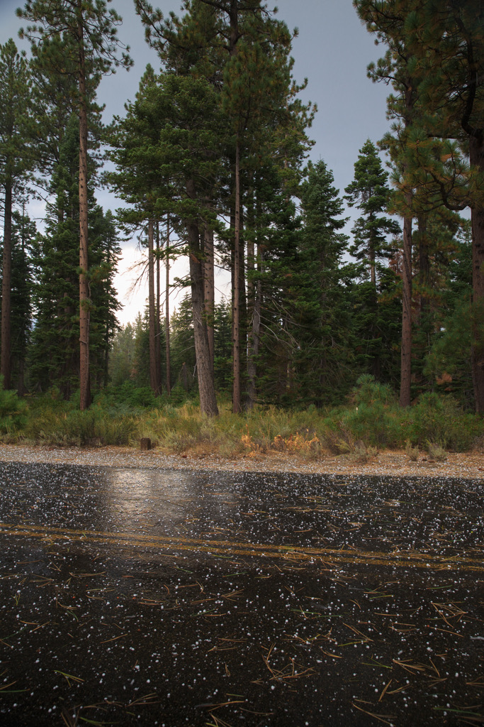 Photo: Hail on the road