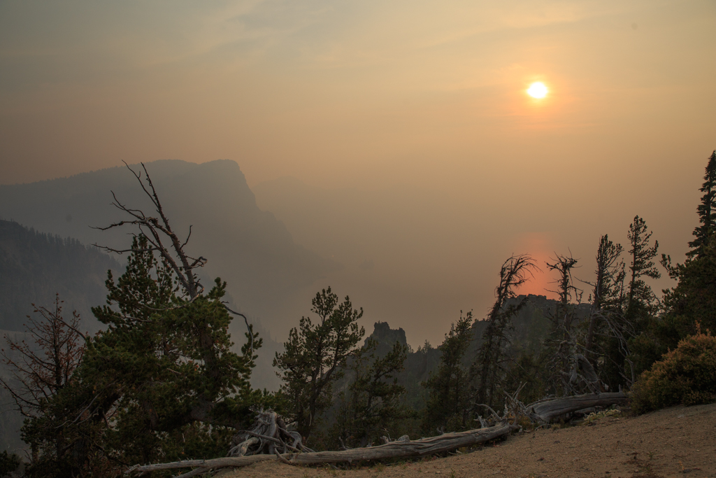 Photo: Crater Lake and a smoky sunset