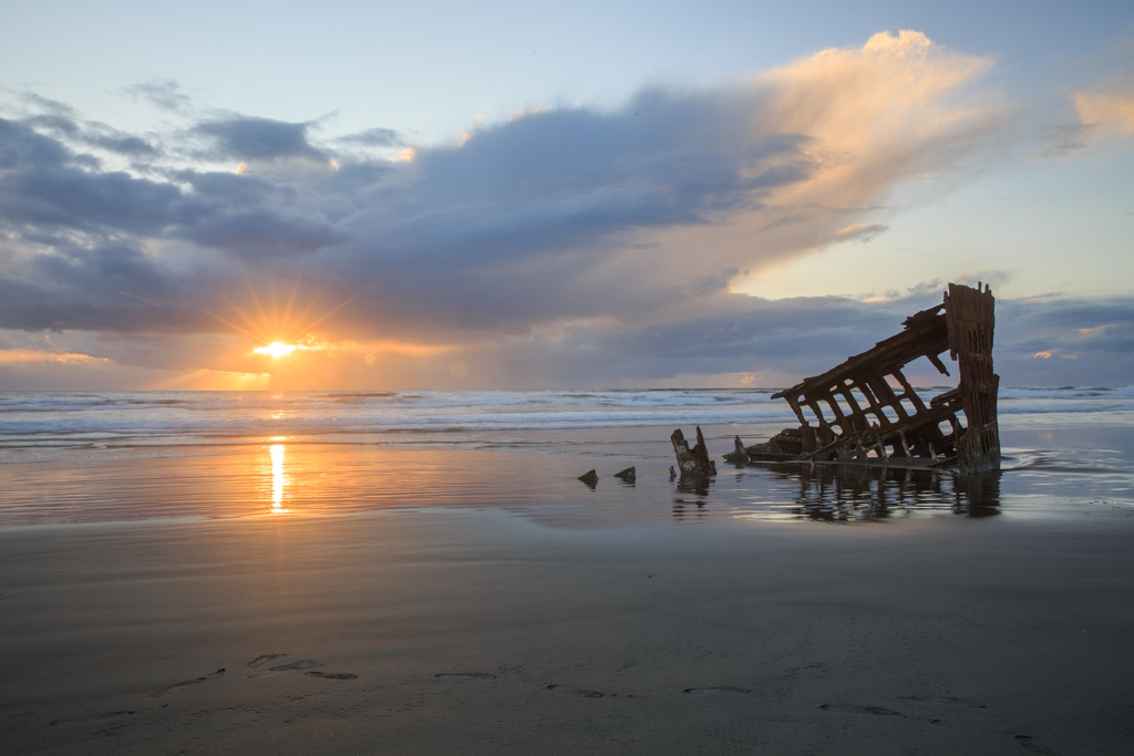 Peter Iredale Wrack Oregon Küste Sonnenuntergang