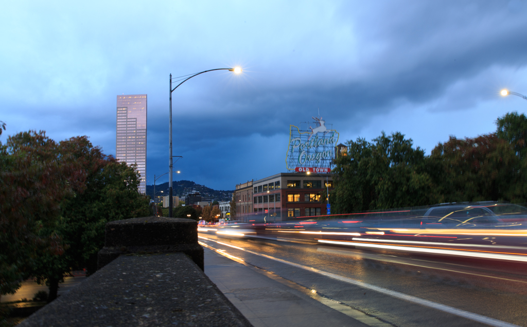 Photo: On Burnside. You can see the rain coming in that made me wet a few minutes later