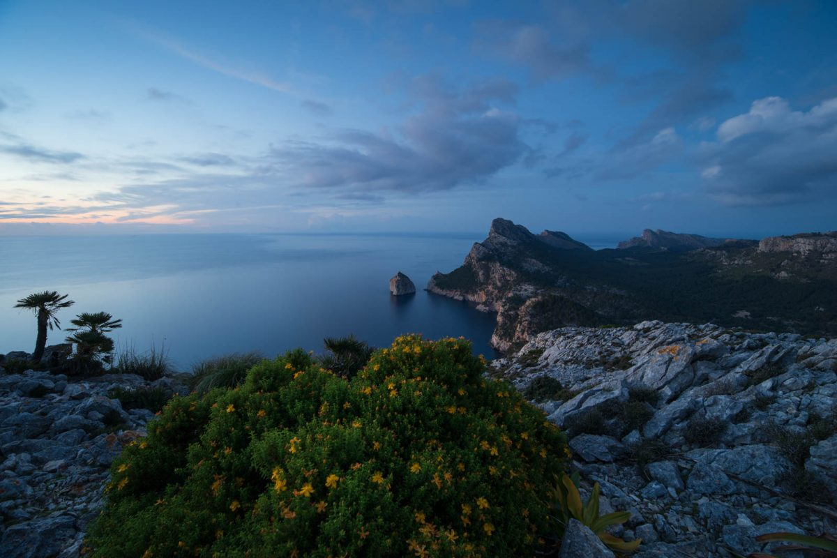 Blaue Stunde hoch über dem Meer Mallorca