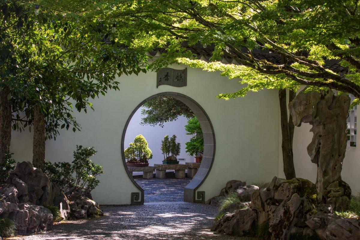 Rundes Tor , Lan Su, Portland, Chinesischer Garten