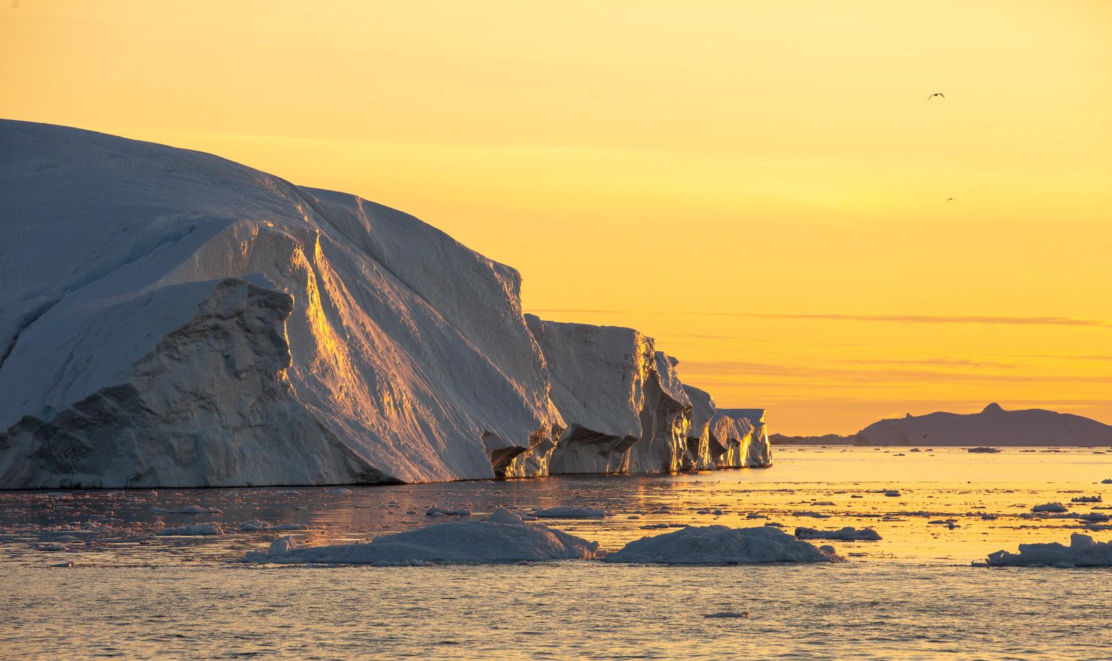 Ilulissat Eisberge im Sonnenuntergang, Grönland