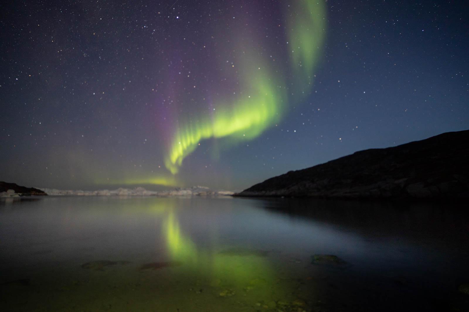 Aurora borealis in Iluissat, Grönland