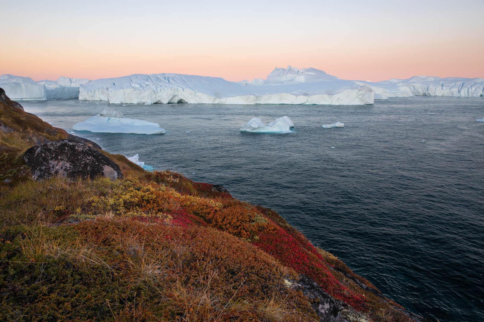 Morgendämmerung in Ilulissat, Grönland