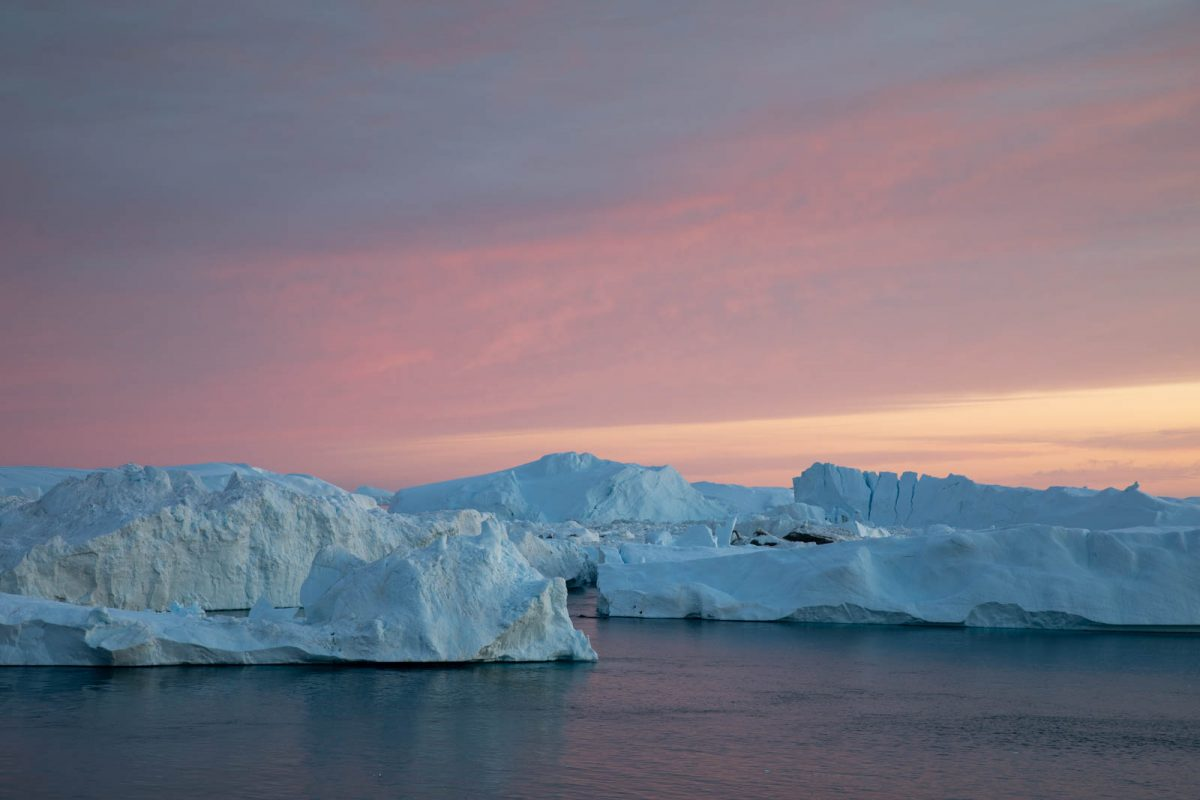 Abendlicht über den Eisbergen, Ilulissat, Grönland
