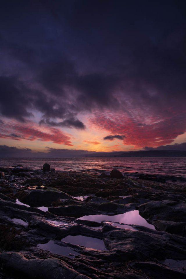 Vor dem Sonnenaufgang im Firth of Clyde, Schottland