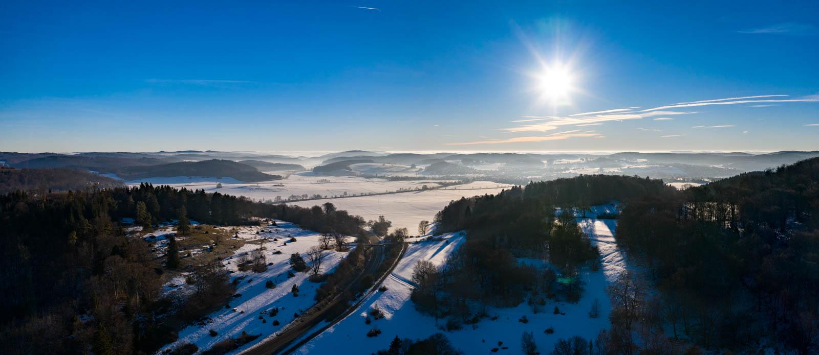 Drohne, Schwäbische Alb, Winter, Albhochfläche, Schnee