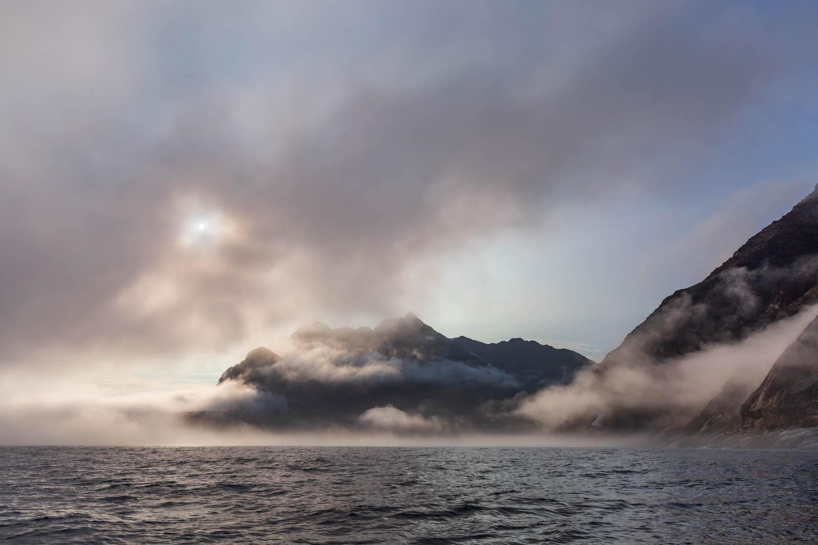 Ostgrönland, Grönland, Nebel, Rückkehr vom Icecap