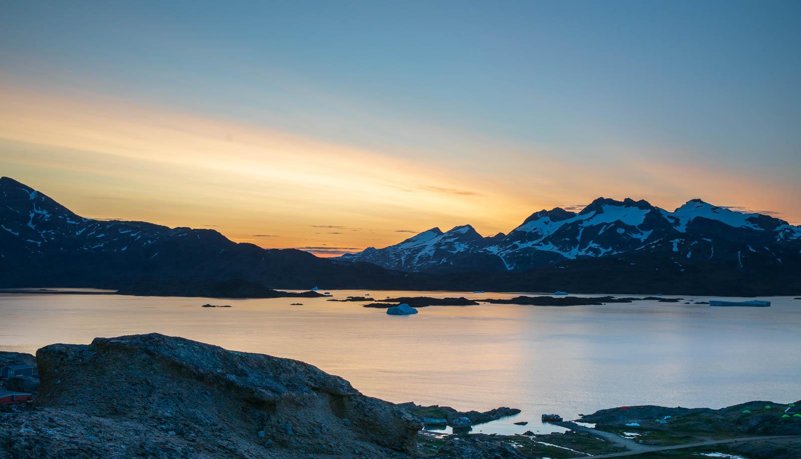 Mitternachtssonne, Ostgrönland, Grönland, Tasiilaq
