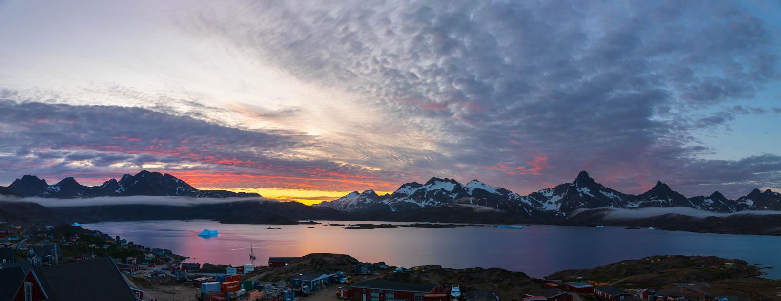 Ostgrönland, Grönland, Panorama, Tasiilaq, Mitternachtssonne