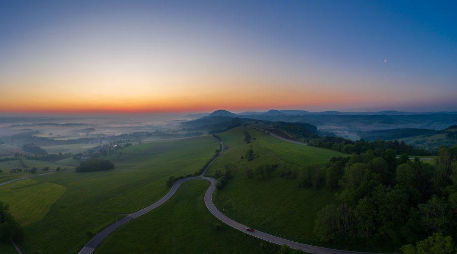 Sonnenaufgang mit Blick Richtung Nordosten,Rechberg, Zeugenberge, Schwäbische Alb