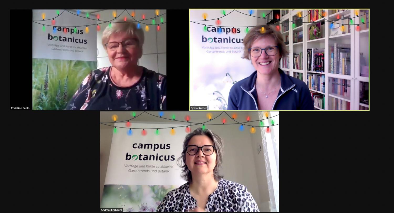 Photo: Die drei Gründerinnen des campus botanicus: Christine Bahlo, Andrea Bierbaum und Sylvia Knittel